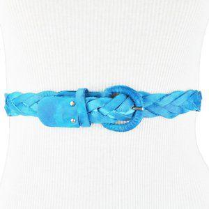 bcbg Blue Plaited Leather Belt Size